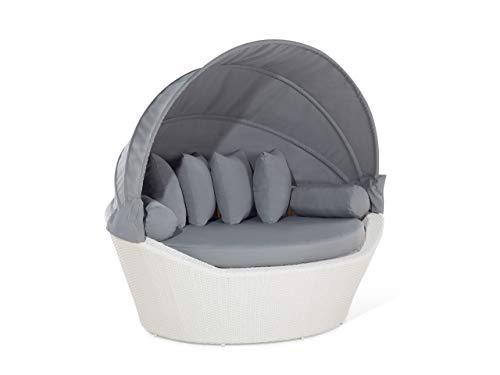 Beliani Moderner Strandkorb 2-Sitzer in Weiß mit Sonnendach in Grau Sylt
