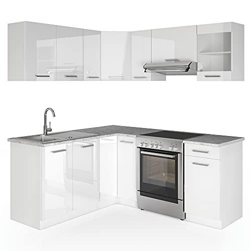 Cucina Vicco Cucina componibile ad L Blocco cucina Cucina su misura Cucina completa 167x187 cm Bianco HGL