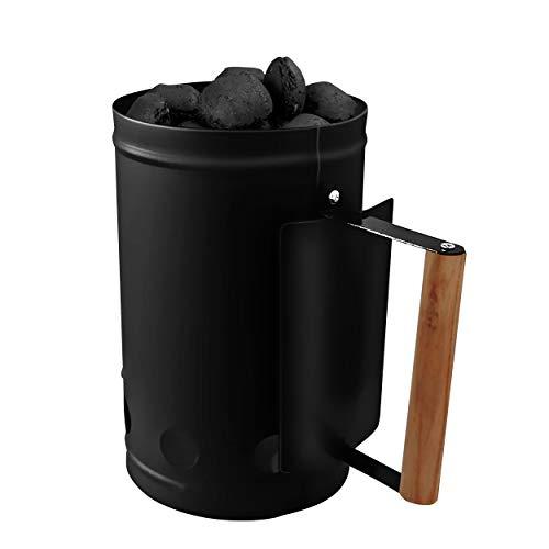 Ora-Tec Anzündkamin Kohleanzünder Kohlestarter für Holzkohle, Briketts UVM. – Grillanzünder ohne Fächern, Föhnen oder gefährlichen Anzündmittel – Kohlenanzünder aus verzinktem Metall (Schwarz)