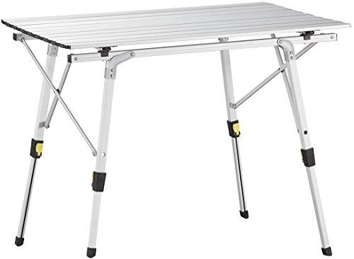 Nestling® 91x52cm Jusquà Charge 65 kg Multifonctions Table Pliante en Aluminium pour 4 Personnes- Hauteur Réglable (Sac Zippé en Deux Pièces) Argent