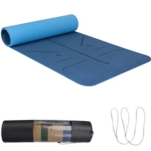 Esterilla de Yoga TPE, Esterilla de Entrenamiento, Antideslizante, con Línea de Posición, con Correa de Transporte y Bolsa, 183 X 66 X 0,6 cm