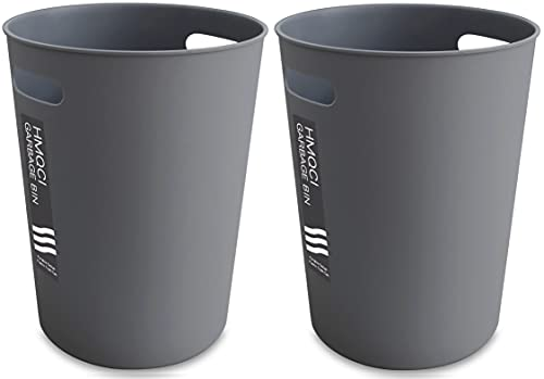 HMQCI Small Trash Can Round Plastic Wastebasket, Garbage Container Bin, 1.5 Gallon Capacity (2-Grey, 2-Pack- 7.7'10.2')