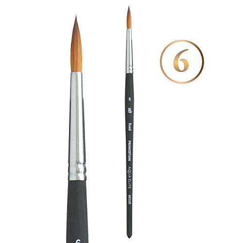 Princeton Aqua Elite NextGen Artist Brush, Series 4850 Synthetic Kolinsky Sable for Watercolor, Round, Size 6
