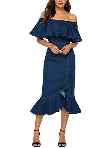 Minetom Damen Jeanskleider Denimkleid Bodycon Trägerlos Partykleid Tunika Hemd Blusenkleid Jeanskleid Maxi Kleider mit Reißverschluss B Blau XL