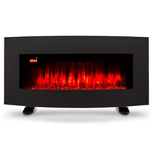 CO-Z Elektrokamin 85cm Kaminofen Elektrischer Wandkamin 900W/1800W mit Heizung, 3 Flammeneffekte der Helligkeit, Dekokamin mit Fernbedienung für Wanddekoration (Gebogener Bildschirm)
