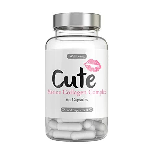 Cute Nutrition Collagene Marino Migliora Capelli Unghie e Pelle Fornite nel Regno Unito Integratore con Vitamina C & E 60 Capsule