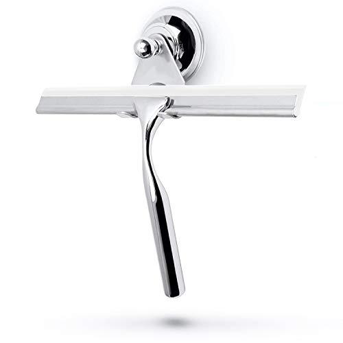 stracks® Edelstahl Duschabzieher - Kein Bohren! Duschwischer mit Saugnapfhalterung & 3M Kleber - Inkl. Silikon Wischlippe… (Weiß)
