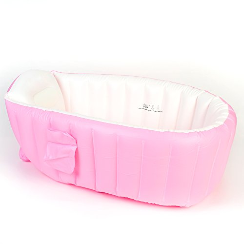 Baby Inflatable Bathtub, Infant Portable Bath, Thick Bathing Tub, Travel Bathtub, Air Swimming Pool for Kids, Thick Foldable Toddler Shower Basin with Air Pump, Pink