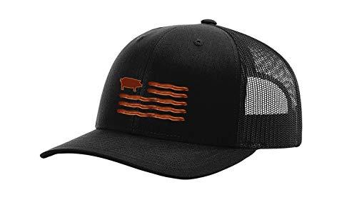 Trenz Shirt Company Funny Men's Bacon American Flag Trucker Hat-Black