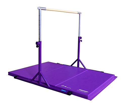 Z ATHLETIC Expandable Kip Bar Adjustable Height for Gymnastics, Training & 4ft x 6ft x 2in Mat (Purple)
