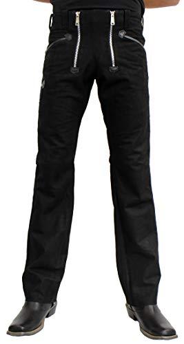 RICANO Zimmermanshose, Herren Lederhose aus echtem Büffel Leder in schwarz in Glattleder (Nappa) oder Wildleder (Nubuk) (42 Inch, Wildleder (Nubuk))