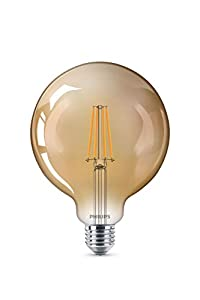 Philips LED bombilla forma globo, consumo de 8W equivalente a 50 W de una bombilla incandescente, casquillo gordo E27 luz blanca cálida, efecto ahumado