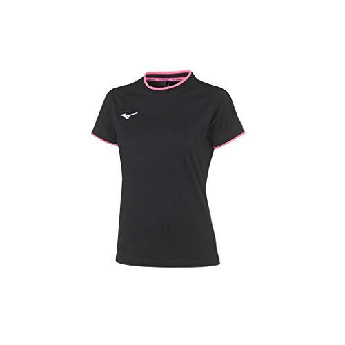Mizuno Tee W T-Shirt pour Femme M Noir/Rose Fluo