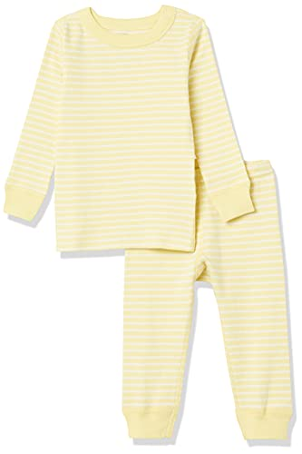 Moon and Back by Hanna Andersson Kids' 2 Piece Long Sleeve Pajama Set, Yellow Stripe, 6-12 Months