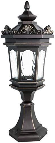 Lámpara de pared Retro Aplique, Vintage Columna Luz Negro E27 Lámpara de cristal transparente Lámpara de césped Rústico Retro Lámpara de enchufe Post Lámpara Impermeable IP44 Luces de jardín Lámpara d