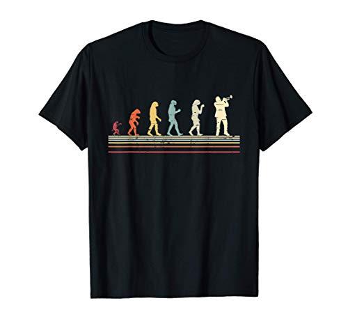 Diseño Vintage de Trompetista Cadena Evolución Trompeta Jazz Camiseta