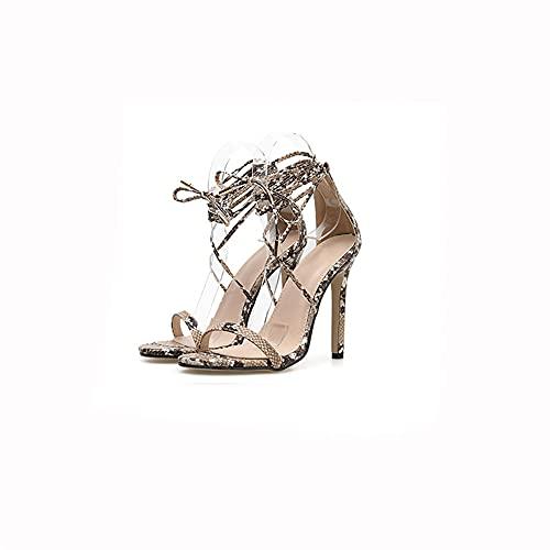 Open teen sandalen met gekruiste bandjes, dames sandalen met naaldhak en naaldhak, zeer geschikt voor bruiloften, feesten, dates of werk, perfect met jurken, pantys en rokken