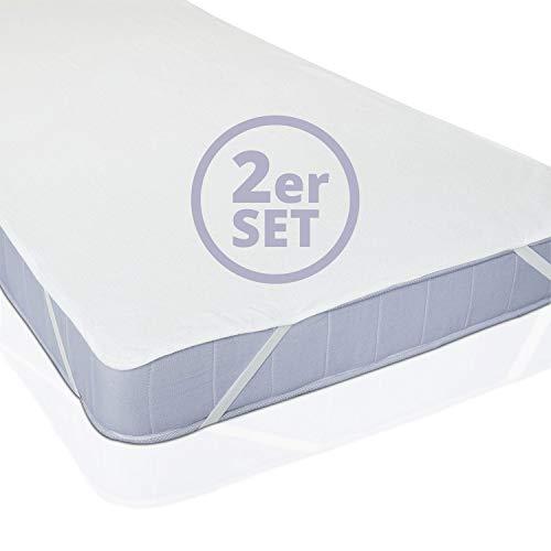Lumaland Wasserundurchlässige Matratzenauflage 2er Set - 60 x 120 cm - für Kinderbett - Matratzenschoner Matratzenschutz Matratzenbezug Bettlaken - Anti-allergisch, gegen Milben, wasserdicht - Weiß