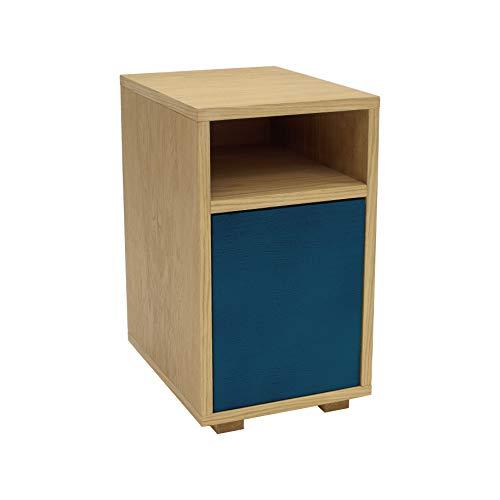 Ragaba - Mesita de noche con armario (montaje sencillo, 30 x 40 cm, madera FSC), madera, azul...