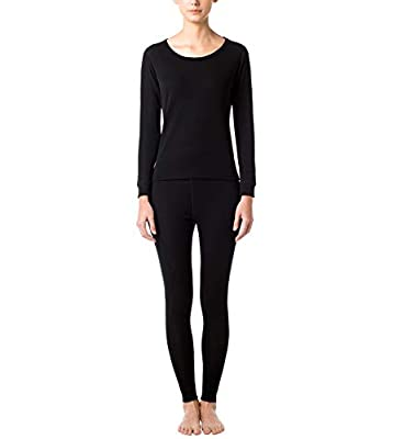 LAPASA Women's 100% Merino Wool Thermal Underwear Long John Set Lightweight Base Layer Top and Bottom L58 (L, Black)