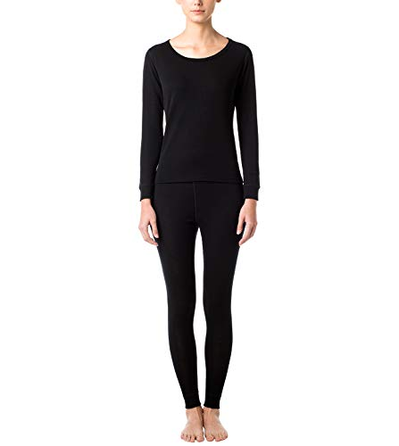 LAPASA Women's 100% Merino Wool Thermal Underwear Long John Set Lightweight Base Layer Top and Bottom L58 (M, Black)