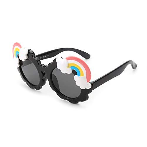 HQPCAHL Gafas De Sol Polarizadas para Niños para Niños Y Niñas Marco De Goma Flexible Protección UV400 Gafas De Sol Polarizadas con Arco Iris De Flores Lindas para Niños De 3 A 12 Años,Negro