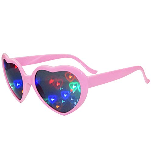 Mrs Bad 3Pcs Love Heart Shaped Rave Glasses Festival Light Changing Heart Effect Diffraction Eyewear for Outdoor Music Party/Bar/Fireworks Displays/Holiday Lights/Club/Concert Lights