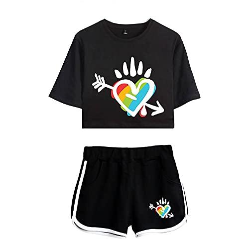 JIYINJIA Mujer LGBT Gay Pride Crop Top + Shorts 2 Piezas Conjunto Deportivo Rainbow Corazón 3D Impreso Camiseta y Pantalones Cortos Verano Pijama Set Outfit Casual Ropa Deportiva