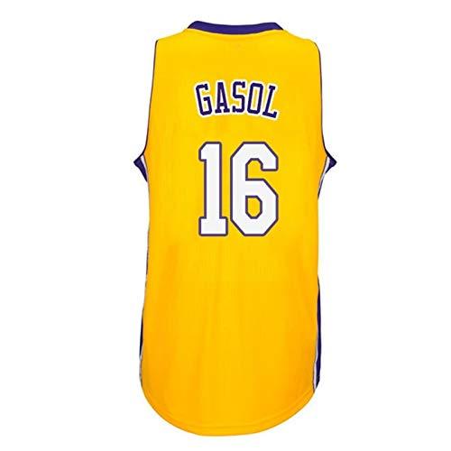 ZXFF Pau Gasol # 16 Baloncesto Jersey Uniforme, Sudadera Bordada A Mano Uniforme De Entrenamiento, Ventilación De Malla Ventilador Camiseta Sin Mangas (Color : A, Size : L)