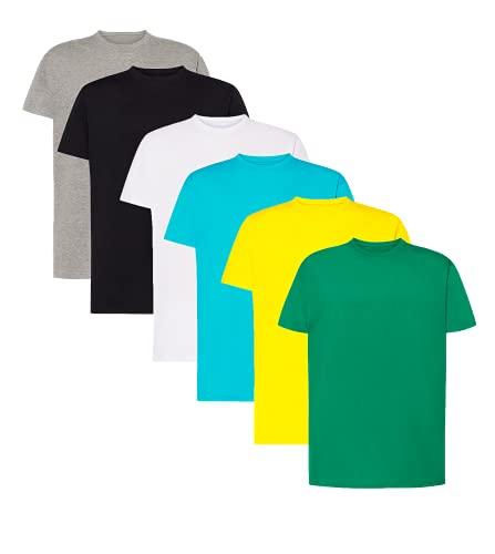 VM - Pack de 6 Camisetas Básicas de Manga Corta para Hombre, Tallas Desde S hasta 5XL, Camisetas 100% Algodón (Pack 1 Blanca + 1 Gris + 1 Turquesa + 1 Amarilla + 1 Verde Militar, M)
