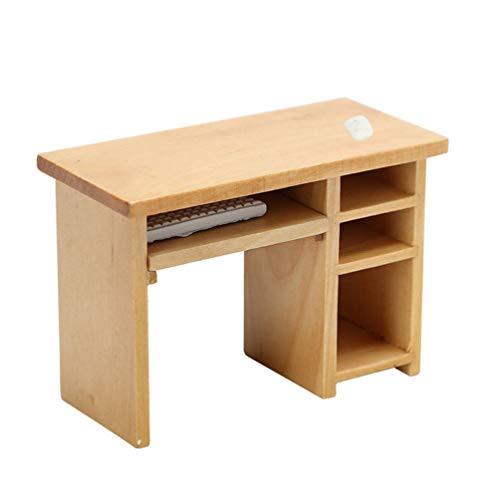 STOBOK Puppenhaus Schreibtisch Holz Mini Computertisch mit Maus Tastatur Miniatur Möbel Modell Spielzeug Puppenzubehör 1:12 Puppenhaus Wohnzimmer Arbeitszimmer Büro Zubehör Dekoration