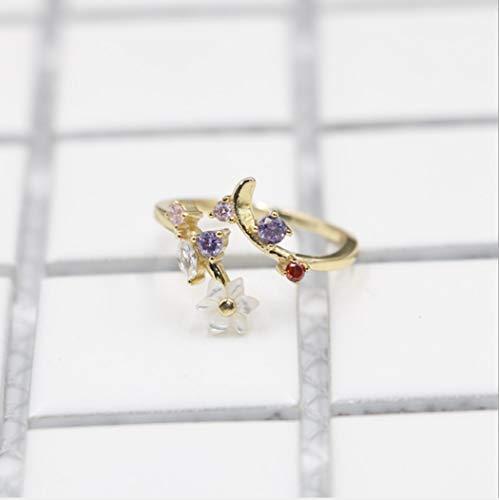YOYOYAYA Ring Weiblichen Schmuck S 925 Silber Intarsien Diamond Blume Einstellbar Öffnen Mädchen Datum Delikatesse Vorschlag Geschenk