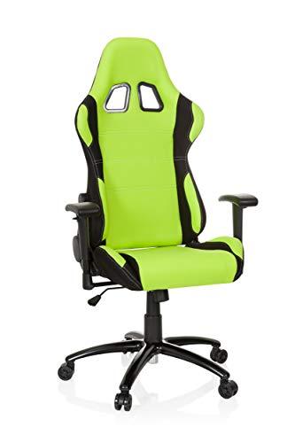 hjh OFFICE Racing-Stuhl Game Force Stoff, Armlehnen, Ergonomischer Sportsitz, Kopfstütze, Höhenverstellbar, Zocker-Sessel (grün/schwarz, Stoff)