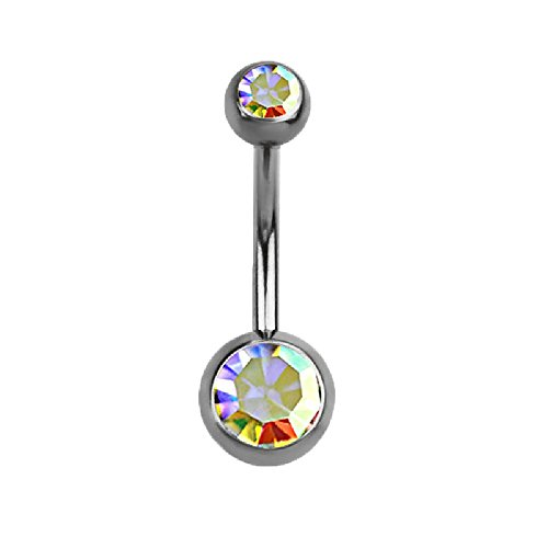Double Crysta G23 Titanium Belly Button Ring by Pierced Owl