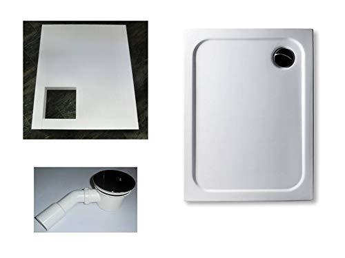 KOMPLETT-PAKET: Duschwanne 90 x 75 cm superflach 2,5 cm weiß Dusche mit GERADER UNTERSEITE Acryl + Styroporträger/Wannenträger + Ablaufgarnitur chrom DN 90
