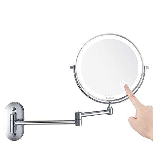 Auxmir Espejo Maquillaje con Luz LED Aumento 1X/10X Espejo Cosmetico Iluminoso de Doble Cara, 360 Rotacion, Recargable USB, Extensible de Pared para Bano, Tocador, Hotel, Plata