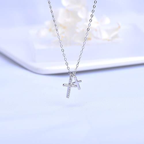 NHGF Collar, Collar de Cruz de Plata esterlina S925, Collar con Colgante de Cruz Simple y Moderno para Damas, Adecuado para Enviar a mamá, Esposa y Novia(Platinum Cross Necklace)