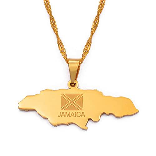 Mapa de Jamaica Collares pendientes Joyas Color plateado / Joyas de color dorado Jamaicano