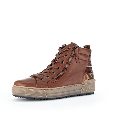 Gabor Damen High-Top Sneaker, Frauen Halbschuhe,Wechselfußbett,Moderate Mehrweite (G),Laufschuhe,knoechelhoch,Caramello (Micro),36 EU / 3.5 UK