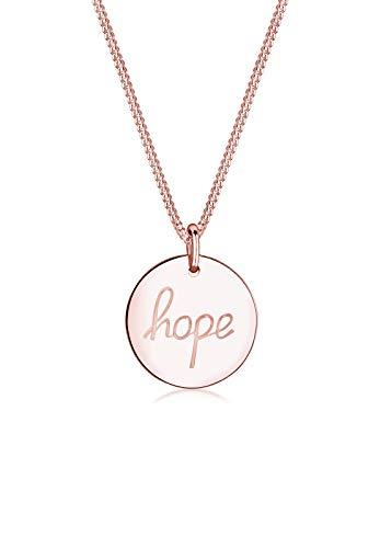 Elli Halskette Elli Damen Halskette mit Hope-Schriftzug Plättchen Anhänger Statement in 925 Sterling Silber 45 cm lang