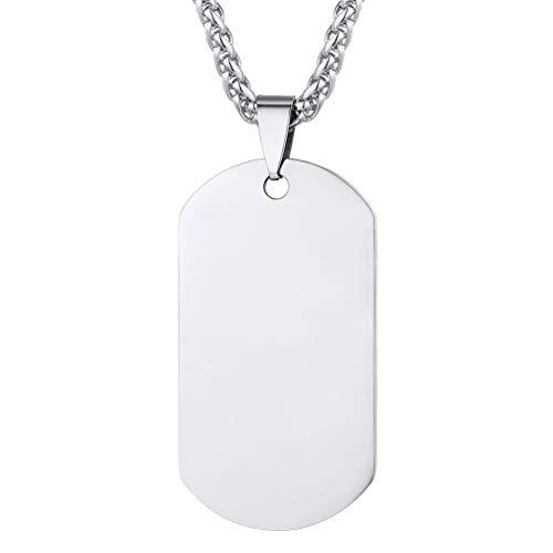 PROSTEEL Joyería Acero Inoxidable Colgante Collar Hombre Placa de Militar Dog Tag ID Pendant Plata