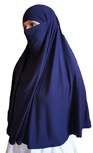 AMAL Niqab Muslim Nikab Women Burka Overhead Jilbab Long Hijab Abaya Khimar (Blue)