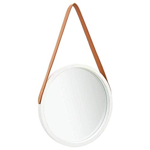 vidaXL Wandspiegel mit Riemen Vintage Retro Hängespiegel Dekospiegel Spiegel Badspiegel Rundspiegel Flurspiegel Garderobe Rund 40cm Weiß