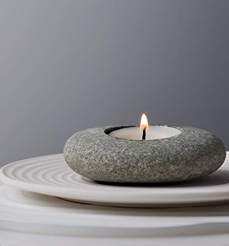 ICNBUYS Handgefertigter Stein-Teelichthalter Kerzenhalter Handgemachter Teelichthalter im Kieselsteindesign für Zen garten, Altäre, Kamine, Tische, Regale etc