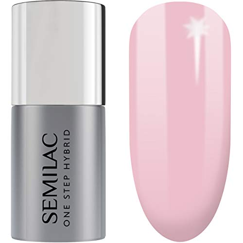 Semilac One Step Hybrid Nagellack 3in1 | Rosa Farb | Barely Pink | 5 ml | Innovativ UV LED Farblack | Nail Polish Ideal für zu Hause und Professionelle Maniküre
