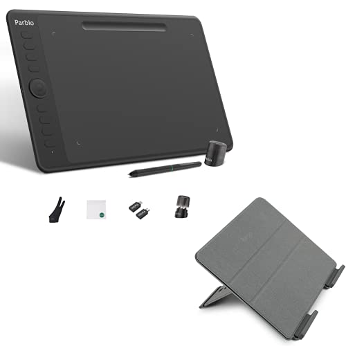 Parblo Drawing Tablet - 10 x 6 inches Graphics Tablet + Drawing Tablet Stand Holder Intangbo M Ultrathin Computer Digital Pad Android Support with 8192 Levels Battery-Free Stylus Compatible for Drawin