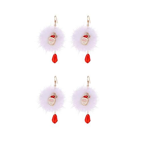 ifundom Decorazioni natalizie 2 paia di eleganti orecchini a sfera di Natale con cristalli rossi alla moda per donna rosso (Babbo Natale)
