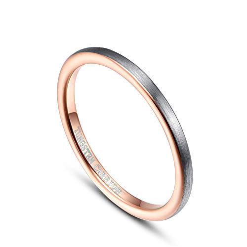 Cloyo 2mm Tungsten Stacking Rings for Men Women Matte Silver Brushed Face Wedding Bands Rose Gold Plated Comfort Fit Size 5-10