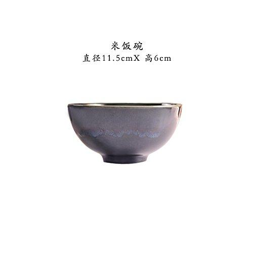 YUWANW Porcelaine Japonaise Couleur Four Est Une Plaque en Céramique Rétro Bac Plat M Bol De Riz Bol De Ramen Coin sur Haute, La Vague Thread M Bol À Riz