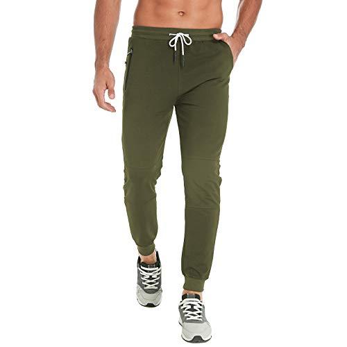FEDTOSING - Pantalones de chándal para Hombre, de algodón, Verde, Extra-Large